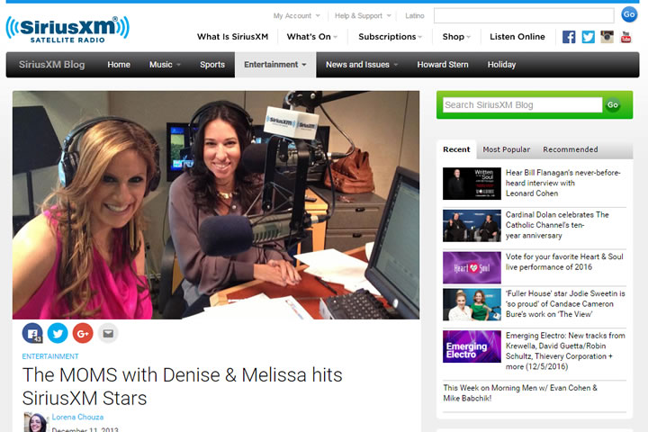 The MOMS with Denise & Melissa hits SiriusXM Stars