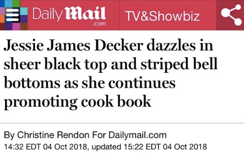 Jessie James Decker dazzles in sheer black top and striped bell bottoms as she continues promoting cook book